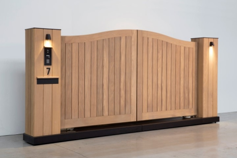 Houten tuinpoort: model 3